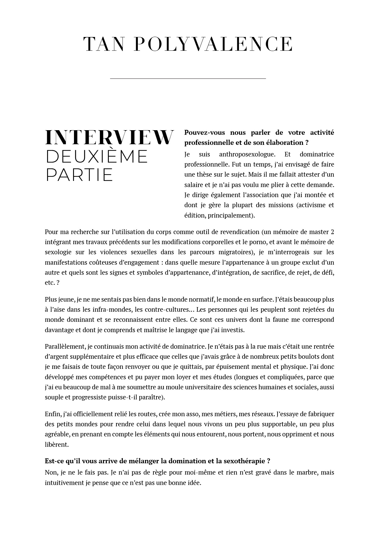 interview tan polyvalence